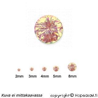 Kuutiollinen Zirkonia, Samppanja (champagne), pyöreä 8mm, 1 kpl