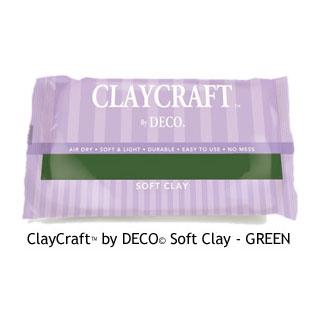 *Poistomyynti* DECO ClayCraft, pehmeä ilmassa kuivuva massa, VIHREÄ, noin 12x8x2cm, 55g, OVH 8.95