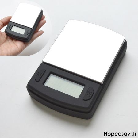 Digitaalinen koruvaaka, tarkkuus 0.1g, kapasiteetti 600g, koko noin 8x6cm
