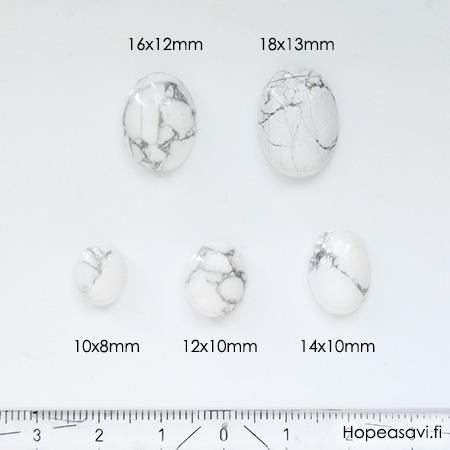 *Uutuus* Hauliitti 'Valkoinen marmorimainen kuvio', soikea, 14x10mm, 1 kpl