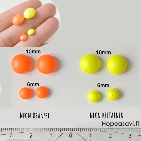 *Mallikappale* Helmi, Swarovski, neon oranssi, 10mm, puoliväliin porattu, tasainen tausta, 1 kpl
