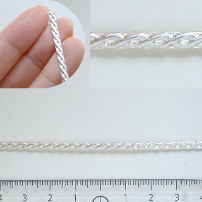 *Poistomyynti -huom kaksi palaa* Hopealanka *Koristelanka A*, hopea 925, noin 3.0x1.3mm, puolipyöreä, 1.7+1.1cm (yhteensä 2.8cm)