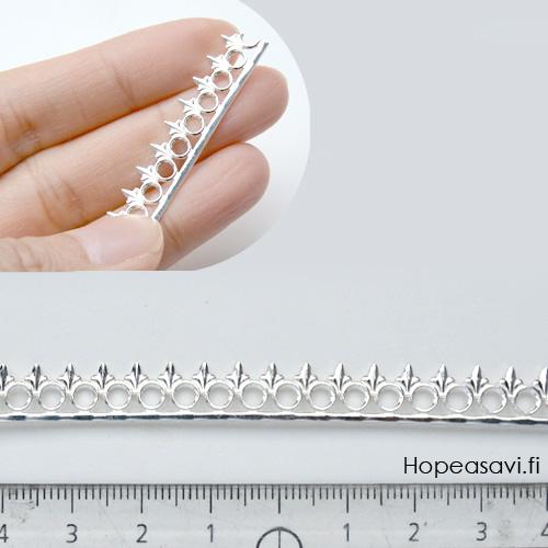 *Putkiremonttiale*  *Kruunu F* -kruunun kohdalla nauhan leveys noin 9mm, paksuus noin 0.9mm, hopea 925 (kova), noin 9.8-10cm