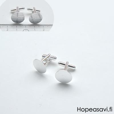 Kalvosinnapit, hopeoitu, liitososa: 15mm alusta koristeelle, 1 pari