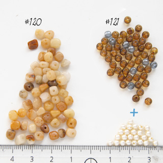 *Mallikappale-Poistomalli* Lasihelmi, kuvassa #121, helmi (21 kpl) + kulta/sininen lasihelmi 4mm (50 kpl), kuin kuvassa