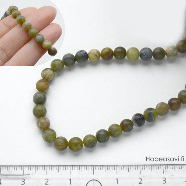 *Kivi Special* Kaunis kivihelmi, Serpentiini, pyöreä helmi, noin 5-6mm, noin 37cm nauha, OVH 9.25