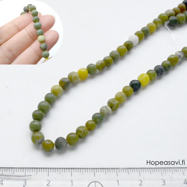*Kivi Special* Kaunis kivihelmi, Serpentiini/kvartsi, v/t, pyöreä, noin 6mm, noin 37cm nauha, OVH 8.25