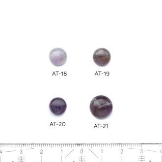 *Kivi Special* Ametisti, pyöröhiottu kapussi, pyöreä, kuvassa #AT18, läpimitta noin 9.0mm, paksuus noin 4.1mm, uniikki yksittäiskappale