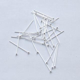 Korupiikki, hopeoitua messinkiä, noin 20mm pitkä, 0.7mm paksu, pallopää (1.5mm), 6 kpl