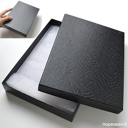 *Poistomyynti -B-luokka, laatikon kannessa pieni kupru (5x2mm ala)* Korurasia, musta, pehmustettu, 175x130x28mm, 1 kpl