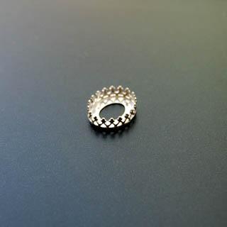 Istukka, hopea 925, soikea, 10x8mm, koristeellinen *kruunu*-reuna, 1 kpl