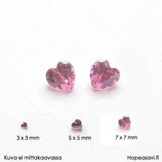*Sesonkitarjous* Kuutiollinen zirkonia, Pinkki, sydämen muotoinen, 7x7 mm, 1 kpl