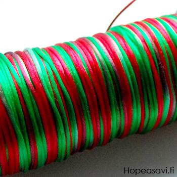 *Poistomyynti* Satiinilanka, Jouluinen punavihreä lanka, 2mm, 4m, helmitöihin, kumihimoketjuihin jne.