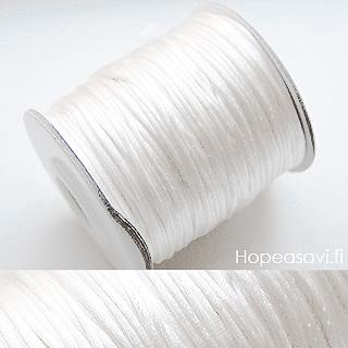 *Muuttoale* Lanka, satiinia, Valkoinen (puhdas valkoinen), 1mm, 4m (1x4m pussi), helmitöihin, kumihimoketjuihin jne.