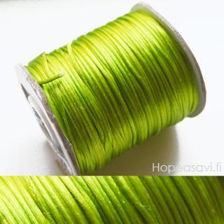 *Siivousmyynti - huom. mitta* Lanka, satiinia, Limen vihreä, (vaalea), 1mm, 3.4m