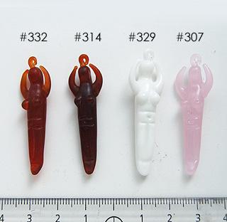 """*Mallikappale-Poistomyynti* Designerhelmiä, """"jumalatar"""", valkoinen, kuvassa #329, lasi, lamppuhelmi, noin 50x15mm, 1 kpl"""