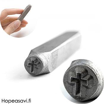 Leimasin, punsseli *RISTI*, noin 6x4.5mm, laadukasta karkaistua terästä, pituus noin 7cm, 1 kpl