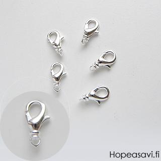 Lukko, hopeoitu, papukaijamalli, iso: 14X9mm, pyörivä lenkki, 2kpl