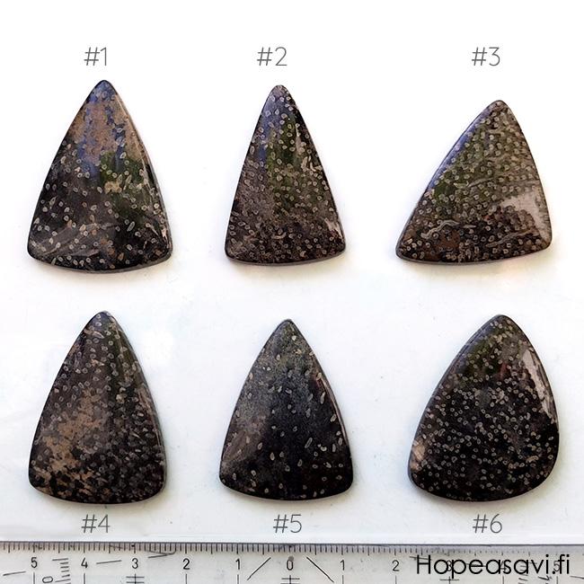 Luonnonkivi, kuvassa #6, designer laatu, harvinainen täplikäs kuvio, mahd. fossiili-puu, puolipyöröhiottu kapussi, pisaramuoto, noin 37x35x27, uniikki valikoitu kivi