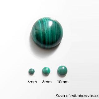 Malakiitti, pyöröhiottu kapussi, vihreä, raitakuvio, pyöreä 8mm, 1kpl
