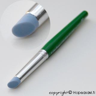 Muotoilutyökalu metallisaven muotoiluun, pehmeä silikonikärki, tasainen pyöreä pää, vihreä