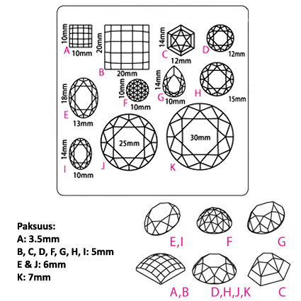 """Muotti, joustava ja läpinäkyvä, """"DELUXE TIMANTTEJA"""", koot 10-3mm, eri muotoja (massat, hartsit jne.)"""