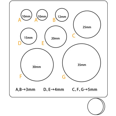 """Muotti, joustava ja läpinäkyvä, minikokoisia koruja """"PYÖREÄ KIEKKO"""", koot 10-35mm, askarteluun (massat, hartsit jne.)"""