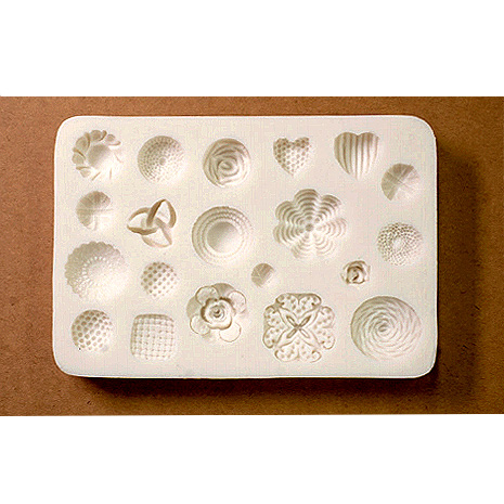 *uutuus* Muotti, joustavaa silikonia 'Kukkia' 20 erilaista, pienin noin 5mm, suurin noin 20mm