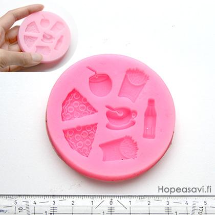*Poistuva malli* Muotti, joustavaa silikonia, RUOKA -aiheinen (pizza, ranskalaiset, kahvikuppi jne.) 7 paikkaa, yhden koko noin 5-25mm
