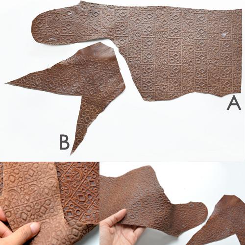 *Mallikappale* Nahkapala, kuvassa A, hieno laatu, ruskea kuviointi, embossattu, paksuus 1.9mm, esim. käsitöihin, pituus n. 39cm, leveys 6-18cm kuin kuvassa