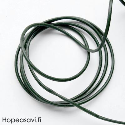 Nauha, aitoa nahkaa, tumman vihreä, pyöreä, 1.5mm, 1.4m