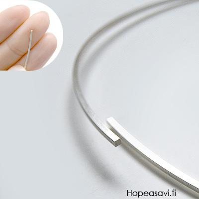 Neliölanka, hopea 925, PEHMEÄ, 0.6x0.6mm, 50cm