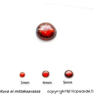 Kuutiollinen Zirkonia, Garnetti, tasainen tausta, kapussi, pyöreä, 5mm, 1 kpl