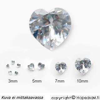 Kuutiollinen Zirkonia, valkoinen (kirkas), Sydämen muotoinen, 5x5mm (2kpl)