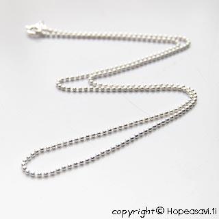 Hopeaketju, pieniä pallohelmiä (1.5mm), sterling hopeaa 925, pituus 45cm