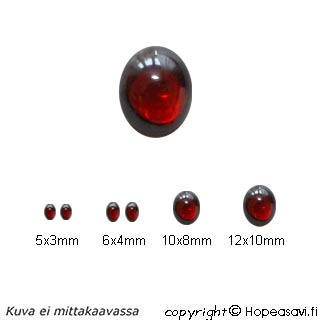 Kuutiollinen Zirkonia, Garnetti, tasainen tausta, kapussi, soikea, 5x3 mm, 2 kpl