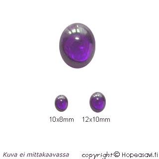 Kuutiollinen Zirkonia, Ametisti, tasainen tausta, soikea, 12x10mm, 1 kpl