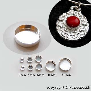 Istukka, hopea 999, sileä reuna, pyöreälle kapussille, 3mm (2kpl)