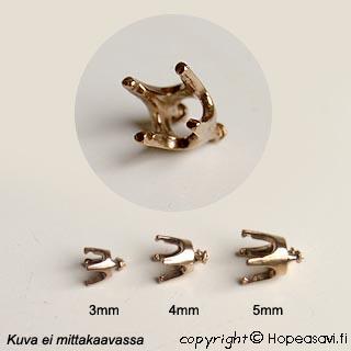 Kruunuistukka, pronssi, pyöreälle kivelle, 5mm, 4 haaraketta, istutettavissa pronssisaveen, 4 kpl