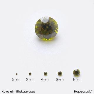 Kuutiollinen Zirkonia, Oliivin vihreä, pyöreä 5mm, 2 kpl
