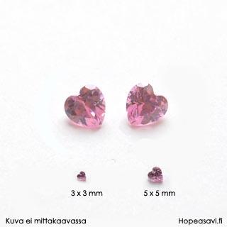 Kuutiollinen zirkonia, Pinkki, sydämen muotoinen, 5x5 mm, 2 kpl