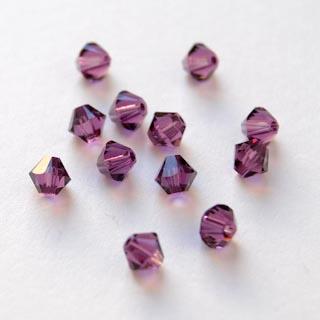 Helmi, Swarovski Crystal, Ametisti, 4mm, bicone (säihkyvä heijastus), 8 kpl