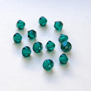 Helmi, Swarovski Crystal, Emeraldi, 4mm, bicone (säihkyvä heijastus), TUKKUPAKKAUS 48 kpl
