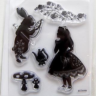 *Siivousmyynti -mallikappale* Leimasin, joustava & läpinäkyvä, noin 11x8 cm, (c) Disney 'Liisa ihmemaassa'