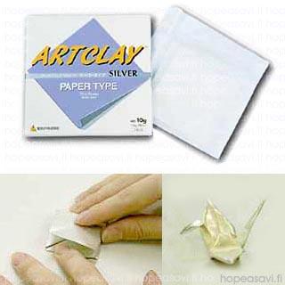 *Tarjous* Art Clay -paperi Basic, hopea-arkki, 75x75, paksuus 0.3mm, 10g (poltto vain  koru-uunissa)