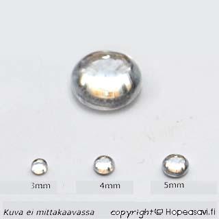 Kuutiollinen Zirkonia, valkoinen (kirkas), tasainen tausta (kapussi), pyöreä, 3mm, 1 kpl