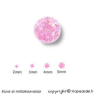 Kuutiollinen Zirkonia, Pinkki (pink), pyöreä, 3mm, 10 kpl