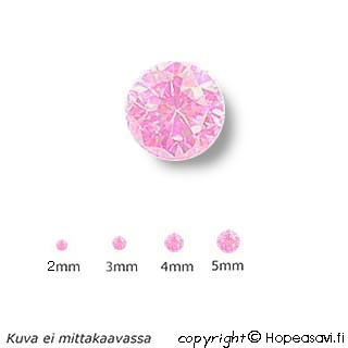 Kuutiollinen Zirkonia, Pinkki (pink), pyöreä, 5mm, 4 kpl
