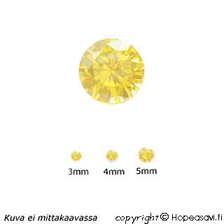 Kuutiollinen Zirkonia, Keltainen, pyöreä 4mm, 5 kpl