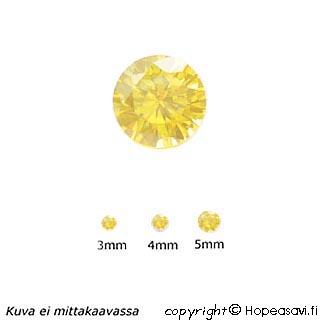 Kuutiollinen Zirkonia, Keltainen, pyöreä 5mm, 2 kpl